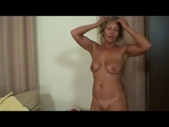 Mature babe in a threesome with two younger big cocks
