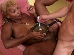 Ebony French slut in her sexy forties with a young guy
