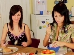 Teens having fun in the kitchen.