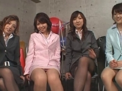 5 Japanese gals give footjob