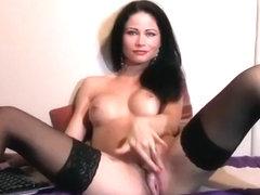 Hot brunette TiaRussel fucks herself