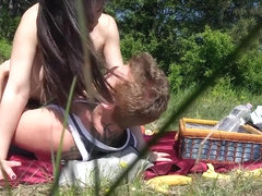 Nekane in Braless Picnic With Busty Chick - LatinaSexTapes