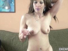 Brunette MILF Brandi Minx is swallowing a stiff cock