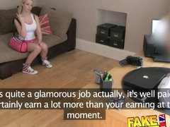 FakeAgentUK Cute big titted blonde gets eyes glued shut