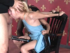 Bondage femdom facefucks sub with strapon