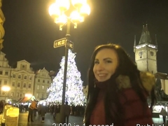 European brunette amateur public bang