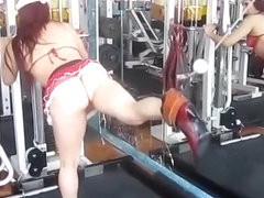 No panties in the gym exercising