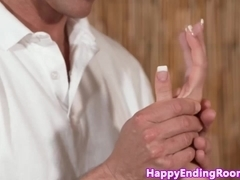 Shorthaired classy chick fucked at a massage