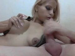 Latin blonde gives a blowjob on the webcam