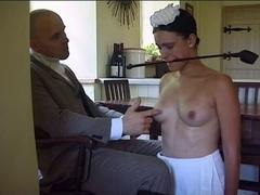 Boy-Friend disciplines his maid