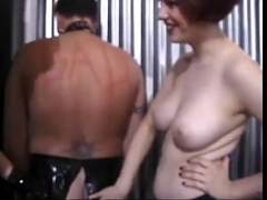 Hawt Female-Dom Beats Her Slaves Booty