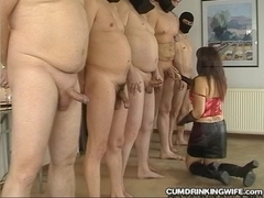 Guys standing in line to gangbang wife
