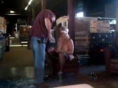 floozy shackled to Saw Billibongs Heels Nylons Spank SADOMASOCHISM