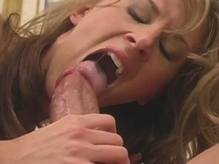 Girl with perfectly shaved pussy Audrey Leigh meets a cock