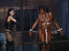Ebon disco playgirl with biggest milk sacks is tied and caged by hot female-dom