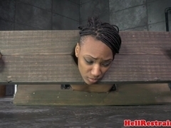 Restrained ebony sub whipped while restrained
