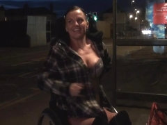 Leah Caprice flashing twat in public from her wheelchair