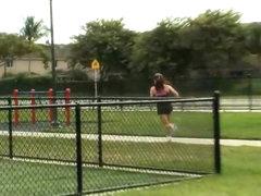Huge tits Megan Jones gets seduced by her personal trainer
