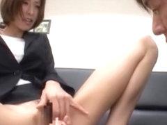 Horny Japanese whore Akari Asahina in Exotic Secretary, Masturbation/Onanii JAV clip