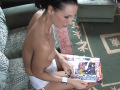 Skinny brunette shows her tits in a free down blouse video