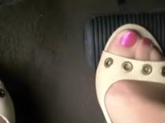 pedal pumping tan heels