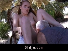 Young and horny redhead seduces old man to fuck