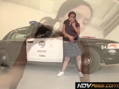 Slim girl Tia Cyrus rides cock on top of a police car