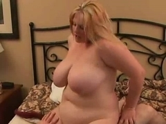 Corpulent big beautiful woman Golden-Haired GF riding strapon, anal and cum gulp-two