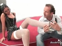 Busty slut gets licked by her man