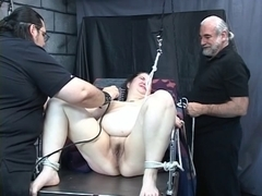 Plump floozy acquires tortured by old studs in the dungeon