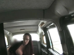 34HH Boobs in Black Cab