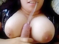 Busty chubby makes a dick sandwich with her milk sacks