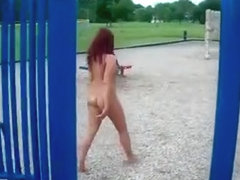 Exhibitionist woman naked in park