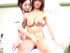 Hidden webcam in massage parlor shooting two Asian dolls