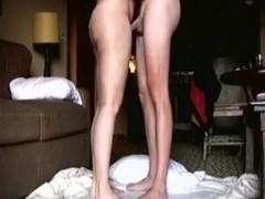 Milf has oral, cowgirl and doggystyle sex on the floor.
