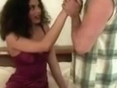 Exotic girl first timer makes old Randy West cum twice