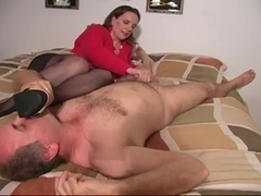 Sniff my hose feet and I will give u a tugjob! CFNM