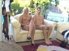 Nanny makes youthful fella fuck her then that babe copulates blond honey with thong-on
