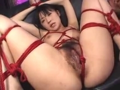 Lovely Japanese whore slobbers on several dicks