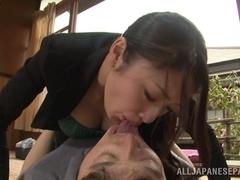 Cock begging beauty Reiko Kobayakawa gets rear fuck