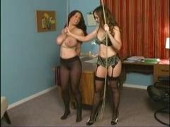 Busty lesbian hottie tortured by her mistress