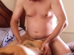 Wife has quickie ends with pecker juice flow on her tattoo