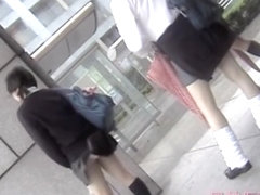 Wonderful windblown upskirt of cute Japanese schoogirls FJKDV001.SD
