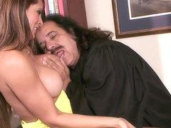 Monique Fuentes wraps her wet lips round Ron Jeremy