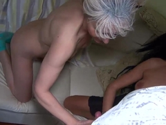 Old nanny - granny in threesome with young