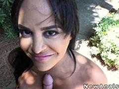 Huge tits Latina anal fucked in backyard