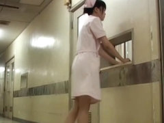 Bent over nurse gets on Japanese panty sharking scenes