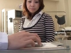 Japanese hottie screwed with a dildo during medical exam
