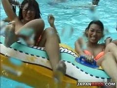 Japanese dames have cans fondled in water