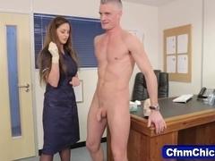 Fetishy nurses inspect floppy dick